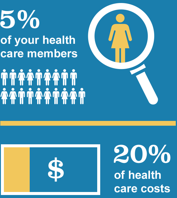 Infographic - a hidden 5% of your health care members account for 20% of health care costs